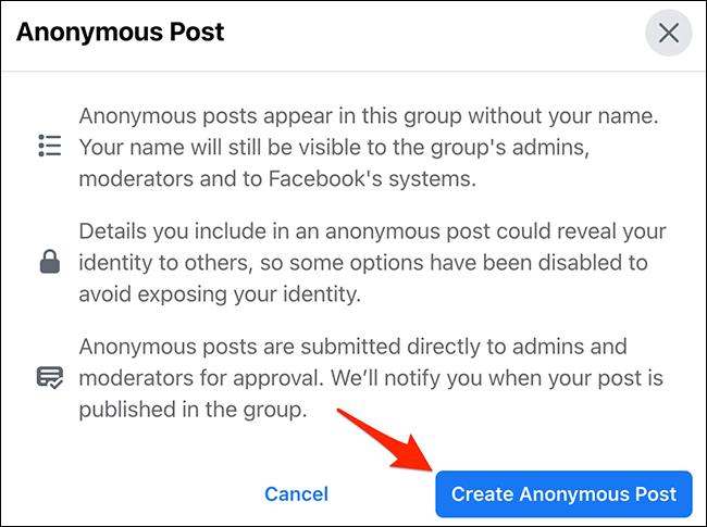 """Cliquez sur """"Créer un article anonyme"""" dans le """"Message anonyme"""" fenêtre sur le site Facebook."""